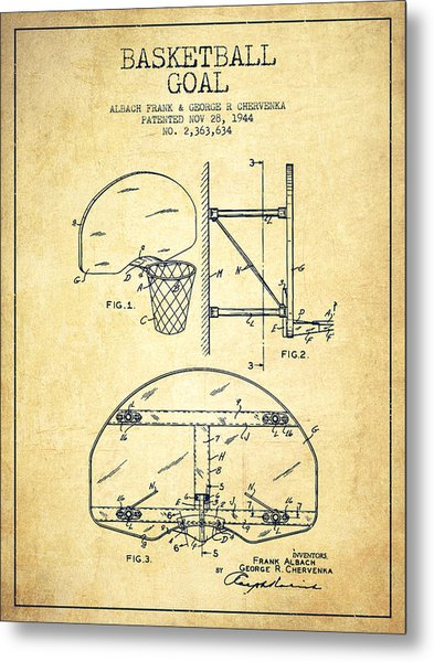 Vintage Basketball Goal Patent From 1944 Metal Print