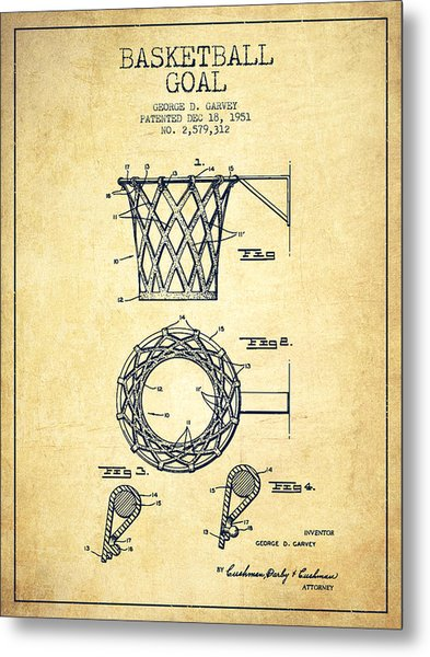 Vintage Basketball Goal Patent From 1951 Metal Print