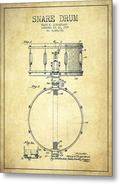 Snare Drum Patent Drawing From 1939 - Vintage Metal Print
