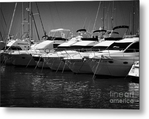 yachts and powerboats in the port marina Cambrils Catalonia Spain Metal Print