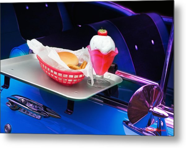 57 Chevy At A Drive-in Metal Print