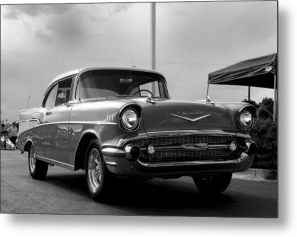 57 Chevy Bel-aire In Bw Metal Print by Don Durante Jr
