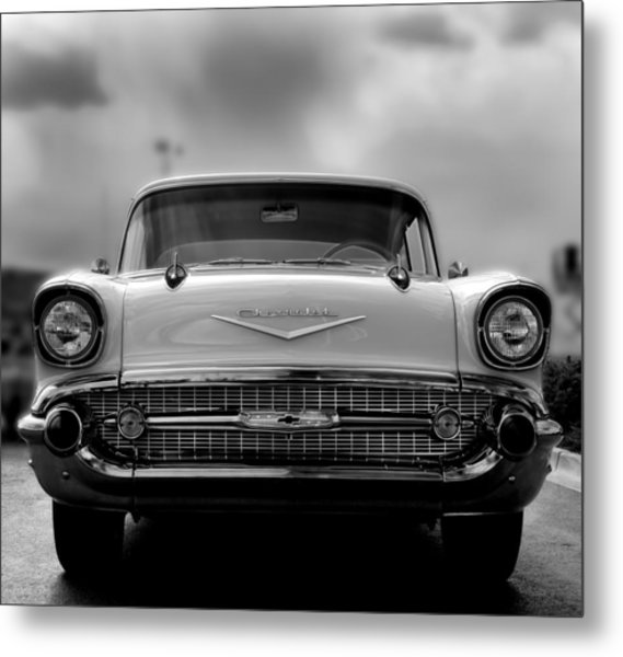 57 Chevy Full Frontal In Bw Metal Print by Don Durante Jr