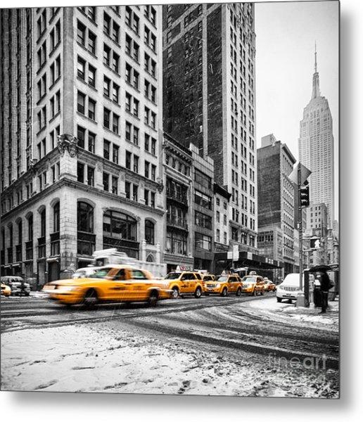 5th Avenue Yellow Cab Metal Print
