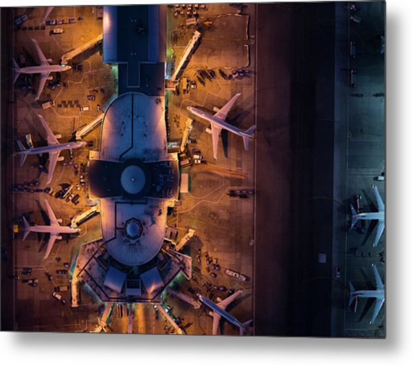 Airliners At  Gates And Control Tower Metal Print by Michael H