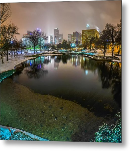 Charlotte Nc Skyline Covered In Snow In January 2014 Metal Print