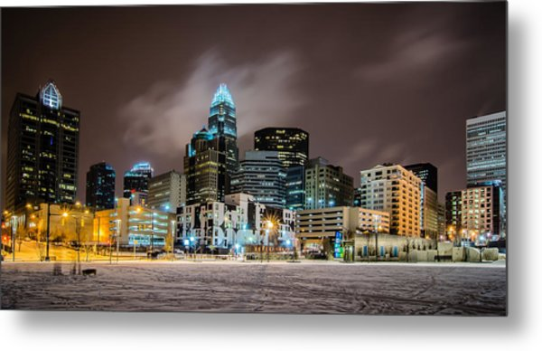 Metal Print featuring the photograph Charlotte Queen City Skyline Near Romare Bearden Park In Winter Snow by Alex Grichenko