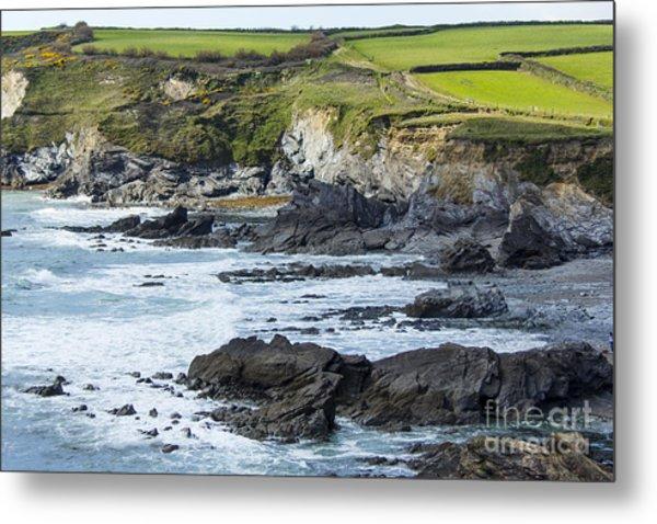 Cornish Seascape Gunwalloe Metal Print