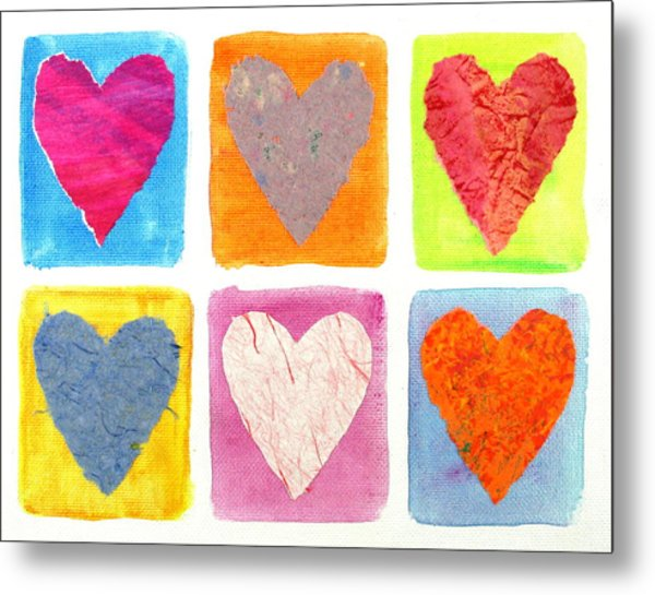 6 Hearts Collage Metal Print