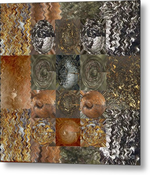 Rareearth Rare Earth Stones Minerals Microphotography Micro Photography Tiled Square Silver Chrome B Metal Print