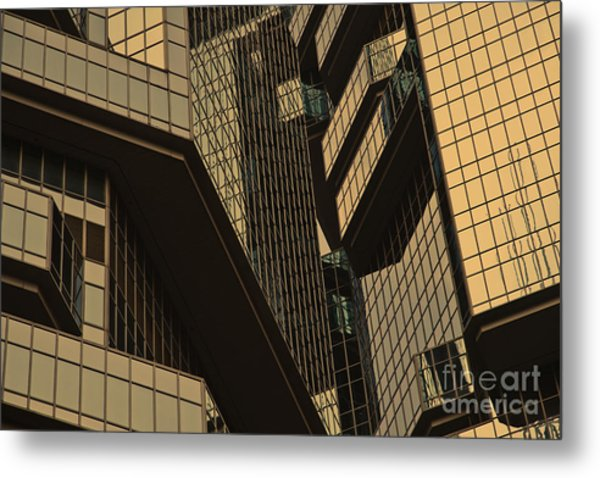 Skyscraper Windows Background In Hong Kong  Metal Print by IB Photography
