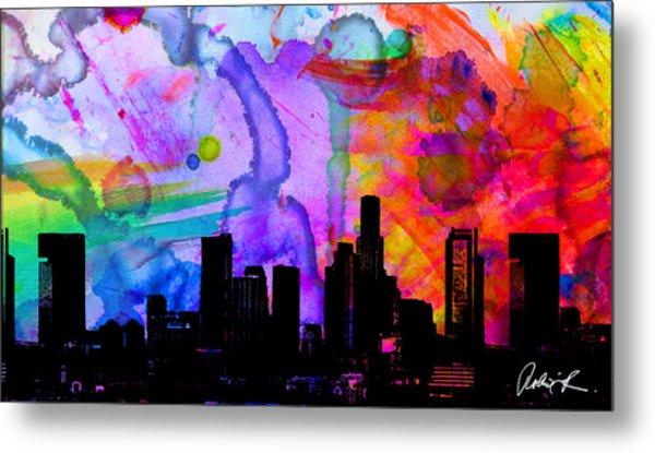60x34 Panoramic Watercolor Skyline Www.splashyartist.com Metal Print