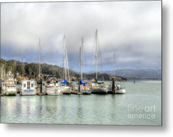 7 Boats In A Row Metal Print