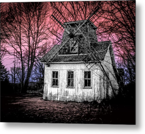 7123 Haunted House Sunset Metal Print by Deidre Elzer-Lento