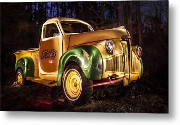 7136 Old Truck Lightpainting Metal Print by Deidre Elzer-Lento