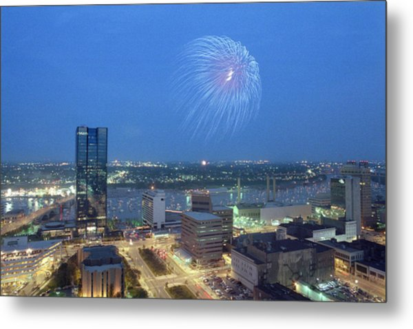 7403 Toledo Twilight Ohio Fireworks Over Maumee River Metal Print