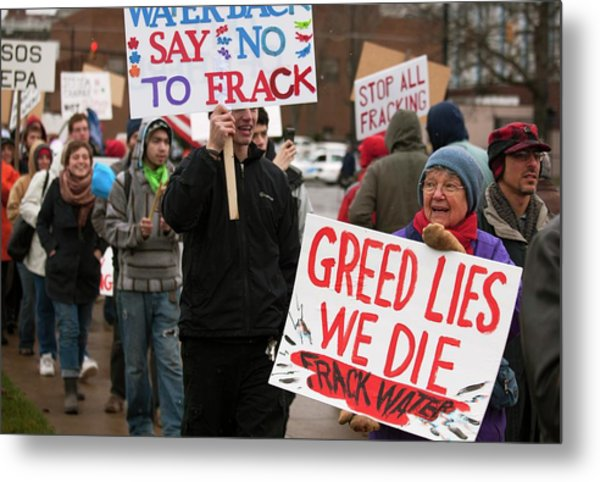 Anti-fracking Protest Metal Print by Jim West