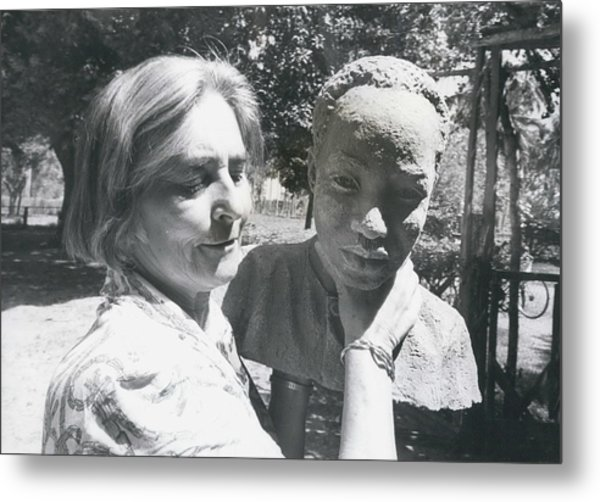British-born Sculptress Completes Bust Of President Nyerere Metal Print by Retro Images Archive