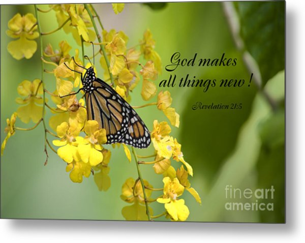 Butterfly Scripture Metal Print
