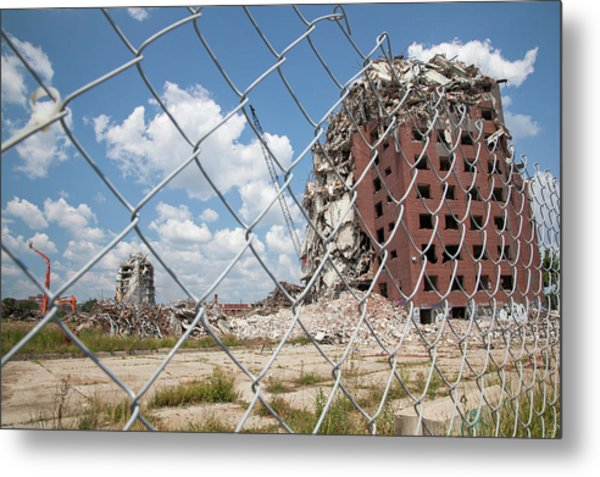 Demolition Of Detroit Housing Towers Metal Print by Jim West