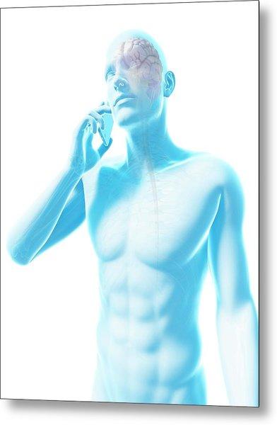 Person Using A Mobile Phone Metal Print by Sebastian Kaulitzki