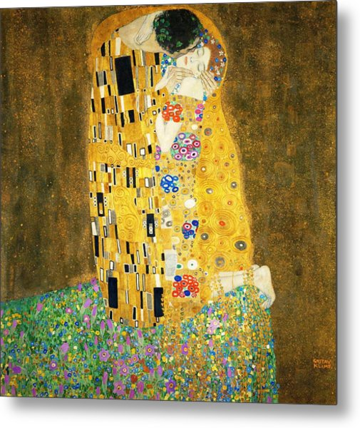 Metal Print featuring the painting The Kiss by Gustav Klimt