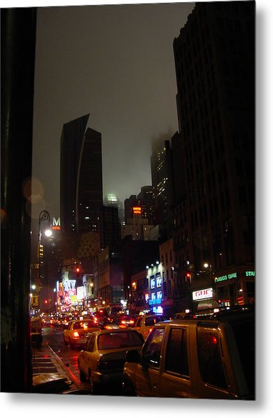 8th Ave Before New York Times Building Metal Print