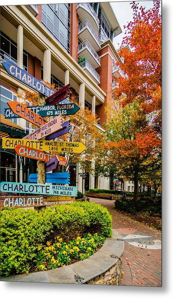 Metal Print featuring the photograph Charlotte City Skyline Autumn Season by Alex Grichenko
