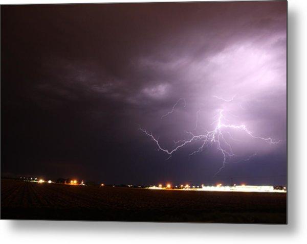 Metal Print featuring the photograph Round 2 More Late Night Servere Nebraska Storms by NebraskaSC