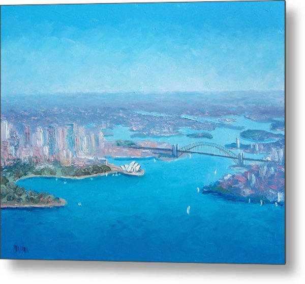 Sydney Harbour And The Opera House Aerial View  Metal Print