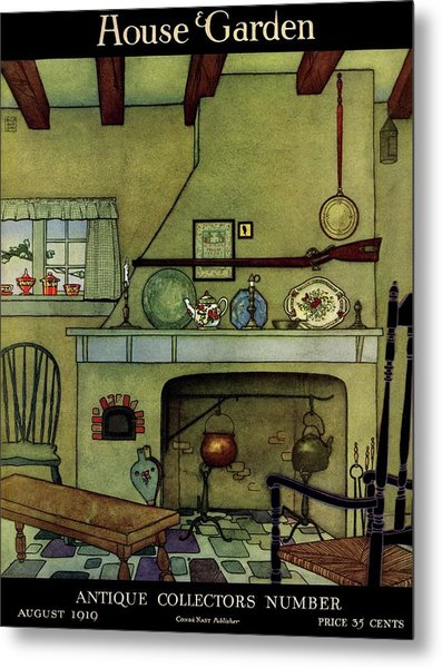 A 1920's Idea Of A Colonial Kitchen Metal Print