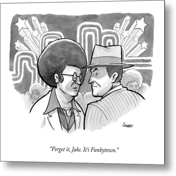 A 70's Disco Man Speaks To Jack Nicholson's Metal Print