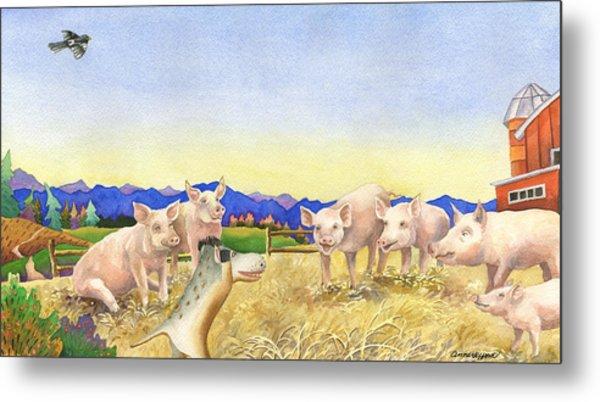 A Barnyard Of Pigs Metal Print by Anne Gifford