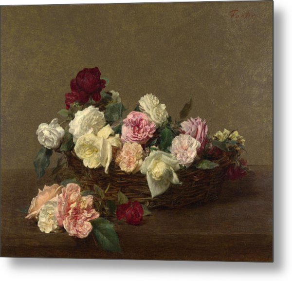 A Basket Of Roses Metal Print