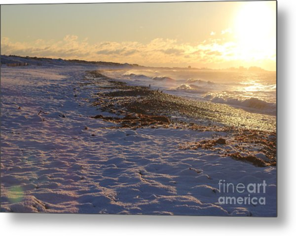 A Beachy Sunrise In The Winter Metal Print