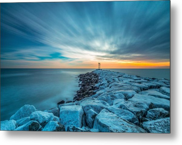 A Beautiful Sunrise At The Old Scituate Lighthouse Metal Print