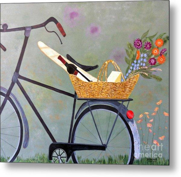 A Bicycle Break Metal Print