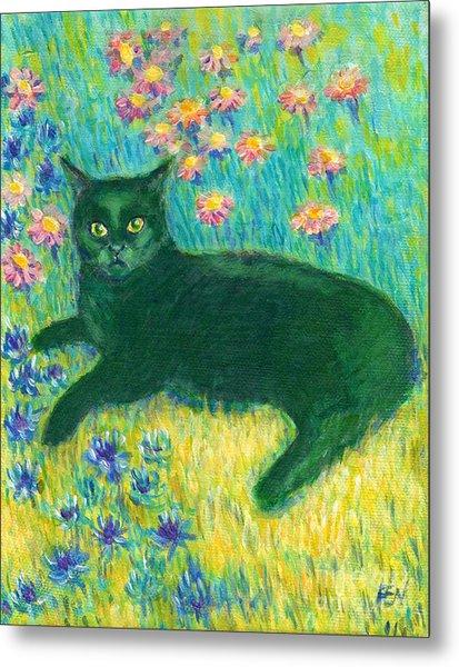 A Black Cat On Floral Mat Metal Print