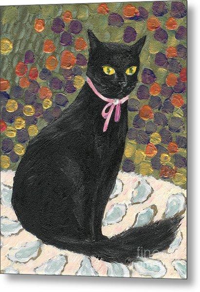 A Black Cat On Oyster Mat Metal Print