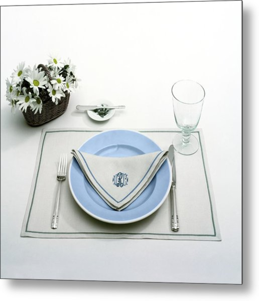 A Blue Table Setting Metal Print