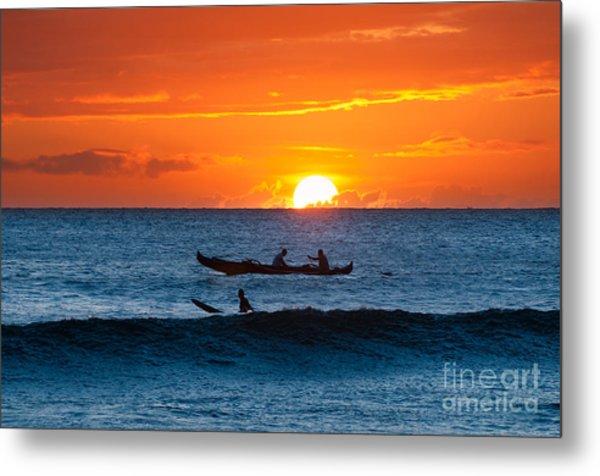 A Boat And Surfer At Sunset Maui Hawaii Usa Metal Print