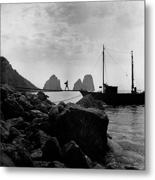 A Boat Docked At Capri Metal Print by Clifford Coffin