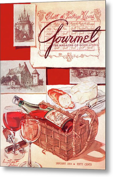 A Bottle Of Bordeaux And Some Melting Camembert Metal Print