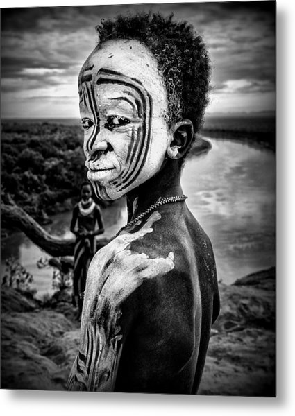 A Boy Of The Karo Tribe. Omo Valley (ethiopia). Metal Print