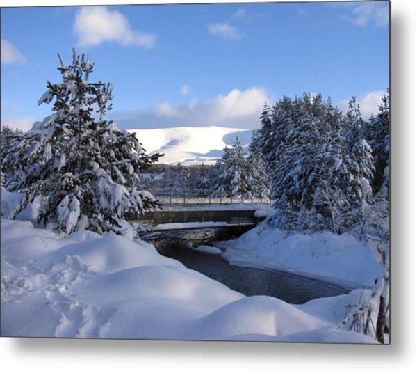 A Bridge In The Snow Metal Print