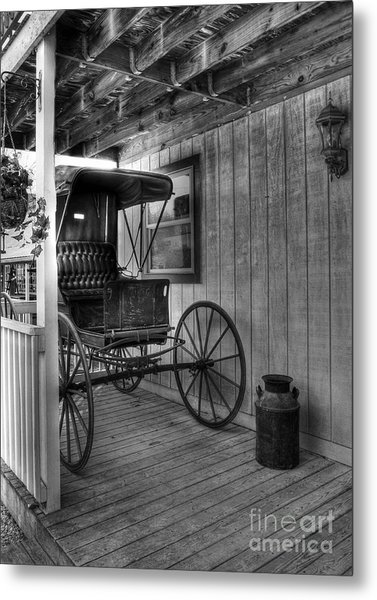 A Buggy On A Porch Bw Metal Print