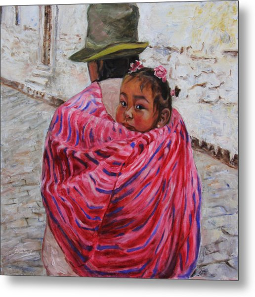 A Bundle Buggy Swaddle - Peru Impression IIi Metal Print