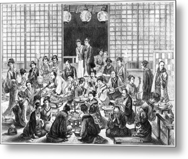 A Bustling Japanese Restaurant  Scene Metal Print by Mary Evans Picture Library