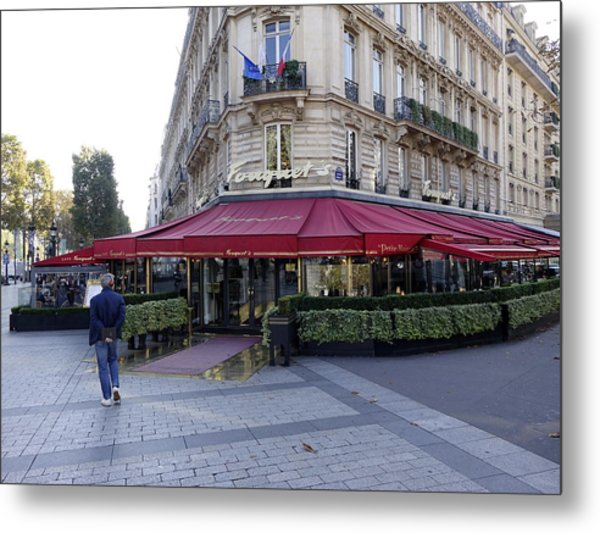 A Cafe On The Champs Elysees In Paris France Metal Print