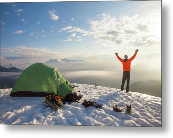 A Camper Lifts His Hand In The Air Metal Print